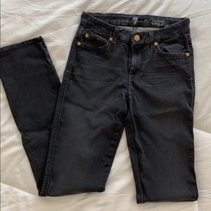 7 for all mankind black straight leg jeans 26